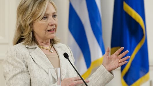 Then Secretary of State Hillary Clinton speaks at a press conference with Greek Foreign Minister Stavros Lambrinidis on July 17, 2011 at the Foreign Ministry in Athens.