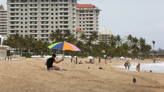 People at the beach in San Juan, Puerto Rico.