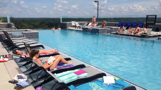 "University of Georgia students can study or relax at the infinity pool at ""The Standard"" off-campus housing"