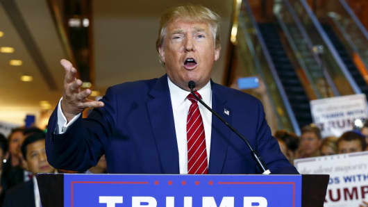 Donald Trump speaks during a press availability at Trump Tower in New York September 3, 2015.