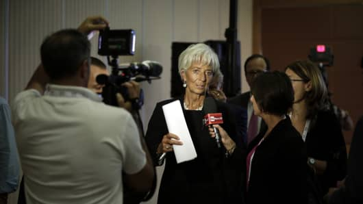 IMF Managing Director Christine Lagarde at a G20 press conference in Ankara, Turkey, on September 5.