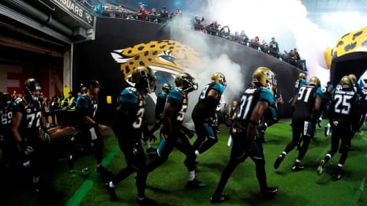 The Jacksonville Jaguars take the field prior to kickoff against the Dallas Cowboys at Wembley Stadium on Nov. 9, 2014, in London.