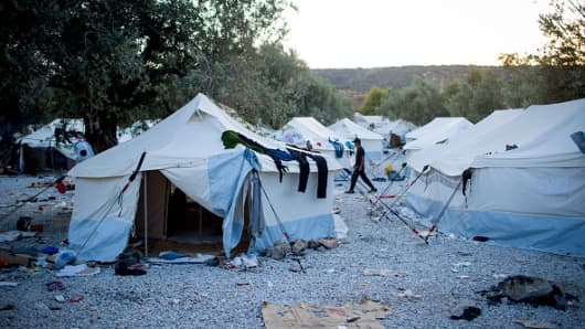 Tents are seen at a refugee camp on the outskirts of Mytilini on September 8, 2015 in Lesbos, Greece. More than 230,000 people have landed on Greek shores this year.