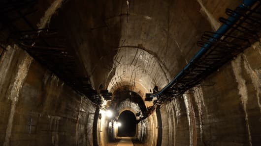 Underground galleries, part of Nazi Germany 'Riese' construction project are pictured under the Ksiaz castle in the area where the 'Nazi gold train' is supposedly hidden underground, on August 28, 2015 in Walbrzych, Poland.