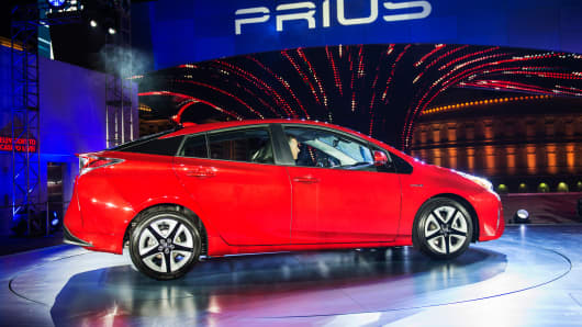 The Toyota 2016 Prius hybrid vehicle sits on display after being unveiled in Las Vegas, on Tuesday, Sept. 8, 2015.