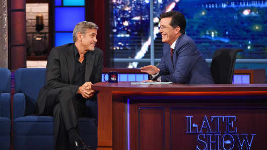 "George Clooney chats with Stephen Colbert on the premiere of ""The Late Show with Stephen Colbert,"" Tuesday Sept. 8, 2015."