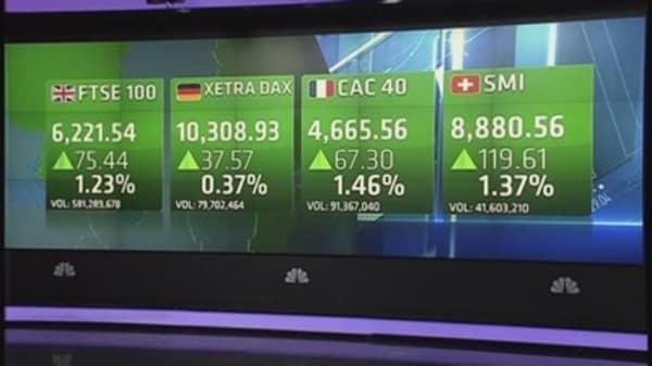 Europe stocks end higher on Asia stimulus hopes