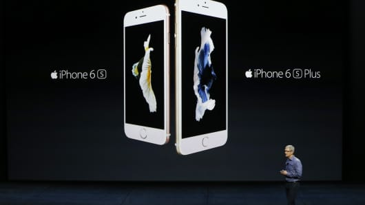 Apple CEO Tim Cook introduces the new iPhone 6s and 6s Plus at Bill Graham Civic Auditorium on Sept. 9, 2015, in San Francisco.
