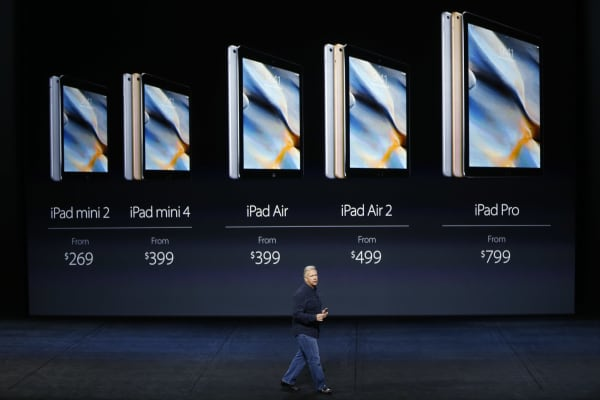 Apple Senior Vice President of Worldwide Marketing Phil Schiller speaks on the new iPad Pro during a Special Event at Bill Graham Civic Auditorium September 9, 2015 in San Francisco, California.