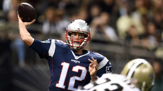 Tom Brady passes during a preseason game against the New Orleans Saints on Aug. 22, 2015, in New Orleans.