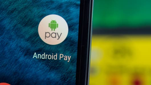 Android Pay icon on a mobile device