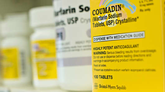 Coumadin medication by Bristol-Myers Squibb on pharmacy shelf in Princeton, Illinois.