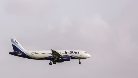 An Airbus SAS A320 aircraft operated by IndiGo approaches to land at Chhatrapati Shivaji International Airport in Mumbai, India.