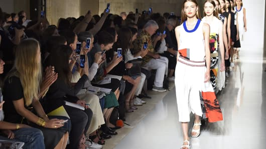 A model walks the runway at the Victoria Beckham Spring Summer 2016 fashion show during the New York Fashion Week on September 13, 2015 in New York City.