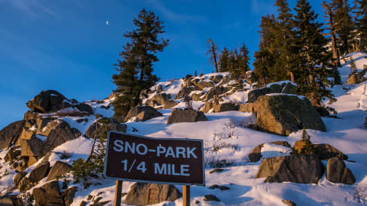 A smattering of snow can be found along California Highway 88 near Carson Pass on April 12, 2015, near South Lake Tahoe, California.