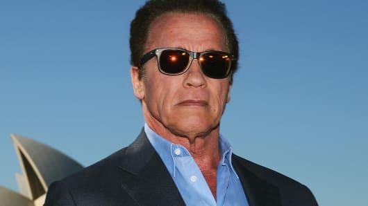 Arnold Schwarzenegger poses during a 'Terminator Genisys' photo call at the Park Hyatt Sydney on June 4, 2015, in Sydney.