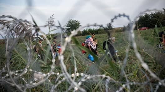 Refugees being turned away by the Hungarian police and trying to find alternative ways to enter Hungary.