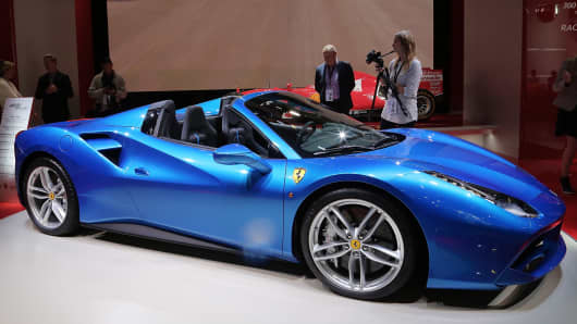 The new Ferrari 488 Spider at the Ferrari stand at the 2015 IAA Frankfurt Auto Show during a press day on September 16, 2015 in Frankfurt, Germany.