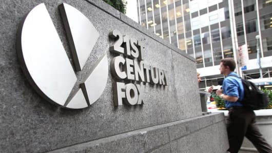 A sign outside the 21st Century Fox headquarters in New York.