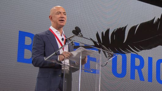 Amazon founder and Blue Origin founder Jeff Bezos announces plans to build a rocket manufacturing plant and launch site at Cape Canaveral Air Force Station, Florida, September 15, 2015.