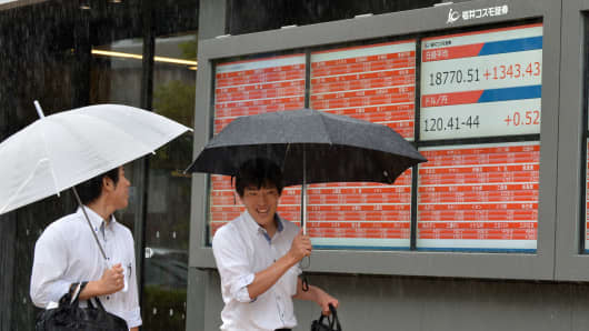 Pedestrians walk past a share prices board showing the closing numbers for the Nikkei 225 on the Tokyo Stock Exchange in Tokyo, Japan.