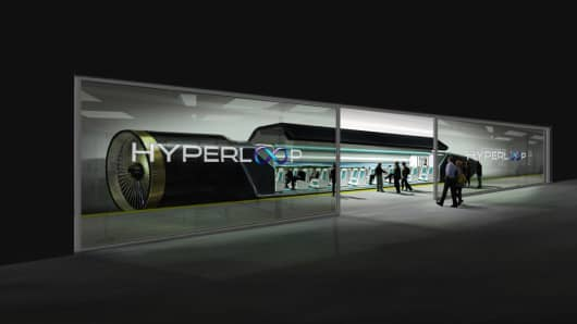 Rendering of a hyperloop station by Hyperloop Technologies.