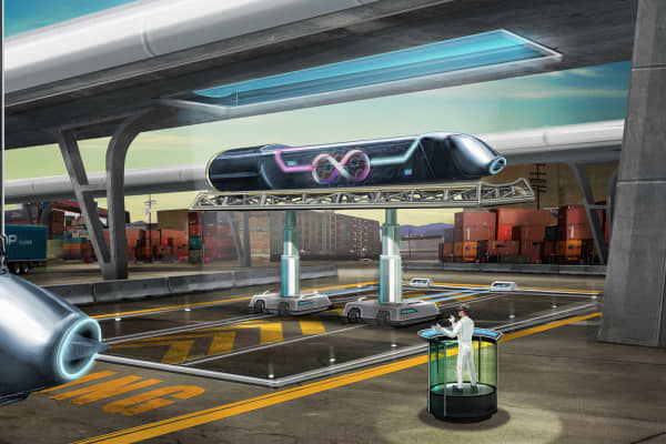 Rendering of a hyperloop capsule being docked.