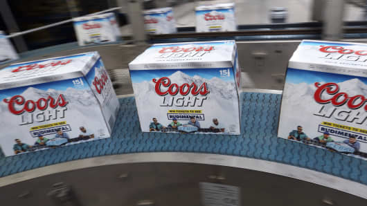 Boxed bottles of Coors Light beer, manufactured by Molson Coors Brewing Co.