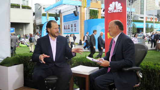CNBC's Jim Cramer interviewing Marc Benioff at Dreamforce, September 16, 2015.