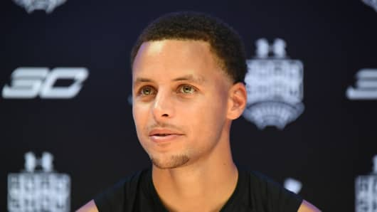 Stephen Curry attends the photocall for Under Armour Roadshow on September 4, 2015 in Tokyo, Japan.