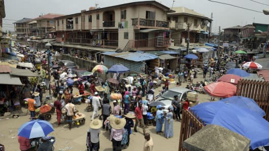Oshodi market in Lagos, Nigeria.