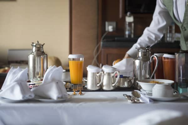 Breakfast in a hotel
