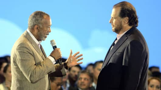 John Thompson Chairman of Microsoft (L) and Marc Benioff speak at the Salesforce keynote during Dreamforce 2015 at Moscone Center on September 16, 2015 in San Francisco.