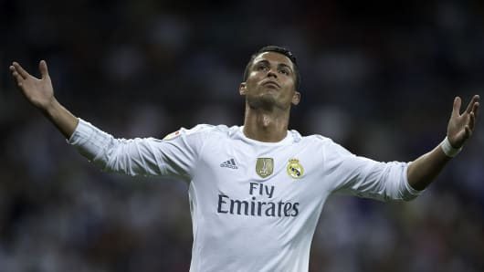 Cristiano Ronaldo of Real Madrid CF reacts as he fail to score during the La Liga match between Real Madrid CF and Real Betis Balompie at Estadio Santiago Bernabeu on August 29, 2015 in Madrid, Spain.