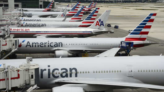File photo: American Airlines passenger planes at Miami International Airport