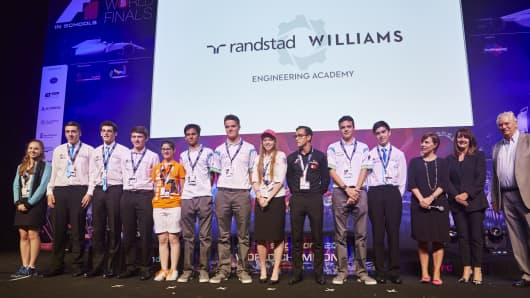 Finalists at the F1 in Schools World Finals in Singapore, September 16, 2015.