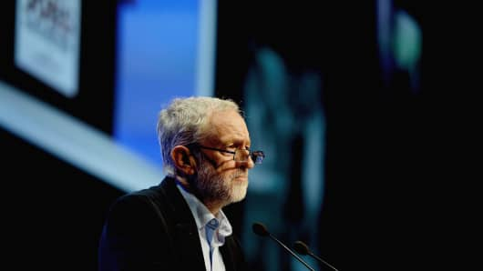 Labour party leader Jeremy Corbyn addresses the TUC Conference at The Brighton Centre on September 15, 2015 in Brighton, England. It was Mr Corbyn's first major speech since becoming leader of the party at the weekend and he received a standing ovation from the members of the TUC.