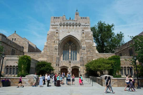 The Sterling Memorial Library on the Yale University campus in New Haven, Connecticut.