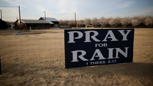 A sign is posted near an almond farm in Turlock, California.