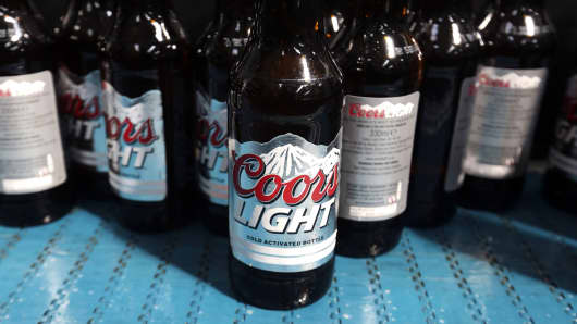 Bottles of Coors Light beer, manufactured by Molson Coors Brewing Company.