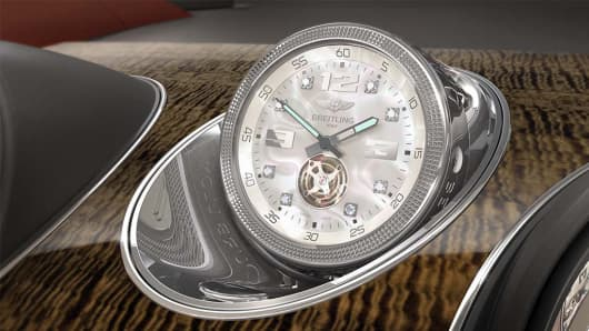 The Breitling Mulliner Tourbillon clock is an option for Bentley's Bentayga SUV.