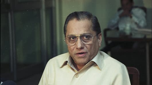 Jagmohan Dalmiya at a press conference on November 28, 2001 in Kolkata, India. Dalmiya has died of a heart attack in Kolkata. He was 75 years old. Dalmiya was in city's BM Birla Hospital since Thursday night after he complained of chest pain and breathing troubles. He is survived by his wife, son Abhishek and a daughter.