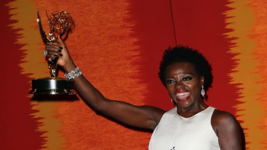 Actress Viola Davis at a party after the Emmy Awards.