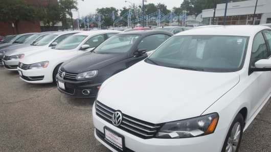 A Volkswagen Passat is offered for sale at a dealership on Sept. 18, 2015, in Chicago. The Environmental Protection Agency has accused Volkswagen of installing software on nearly 500,000 diesel cars in the U.S. to evade federal emission regulations.