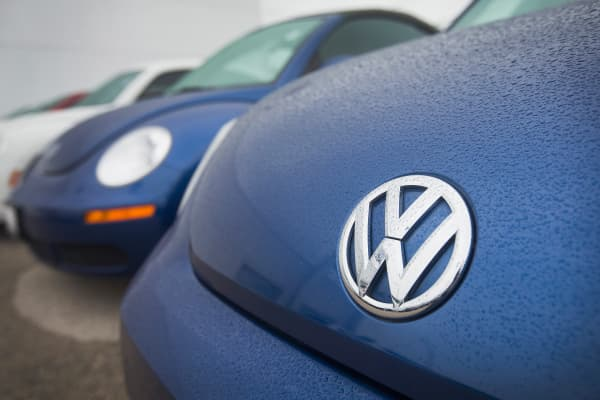Volkswagen Beetles are offered for sale at a dealership on Sept. 18, 2015, in Chicago.