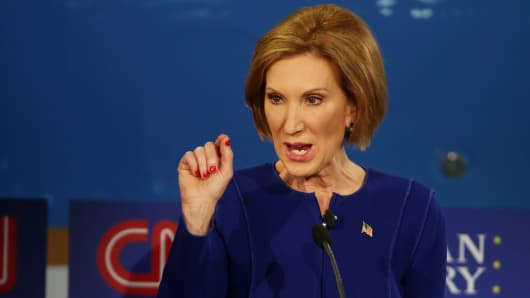 Republican presidential candidate Carly Fiorina take part in the presidential debates at the Reagan Library on September 16, 2015 in Simi Valley, California.