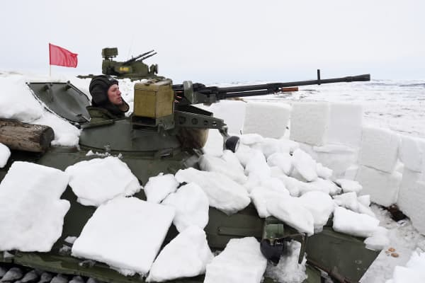 Military vehicle during military training on Northern navy on March 16, 2015 in Murmansk, Russia.