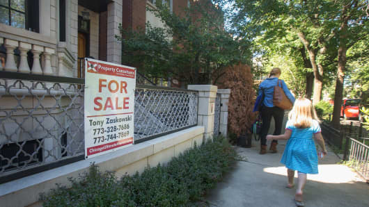 A home is offered for sale in the Bucktown neighborhood in Chicago.