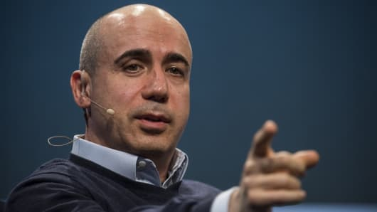 Yuri Milner speaks at the TechCrunch Disrupt SF 2015 conference in San Francisco.
