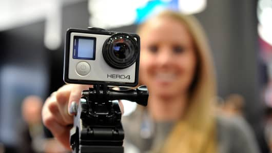 A GoPro Hero 4 camera is displayed at the 2015 International CES at the Las Vegas Convention Center on January 6, 2015.